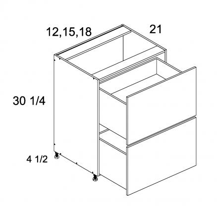 TDW-2VDB12 - Two Drawer Vanity Base - 12 inch