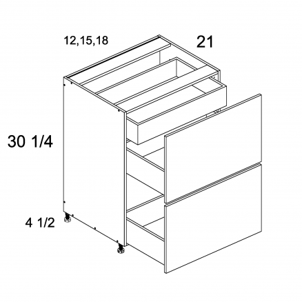 TDW-2VDBID18 - Two Drawer with One Inner Drawer Vanity Base - 18 inch