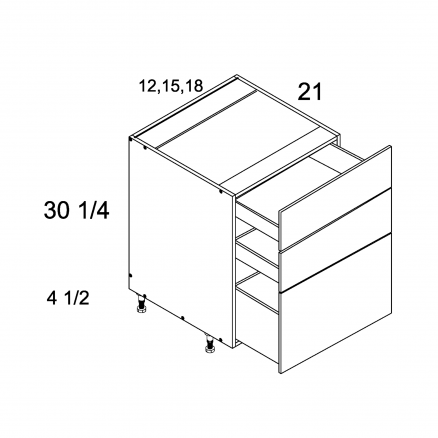 ROS-3VDB12 - Three Drawer Vanity Base - 12 inch