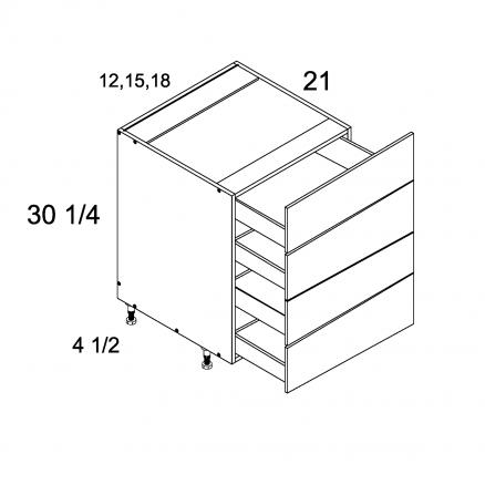PGW-4VDB15 - Four Drawer Vanity Base - 15 inch
