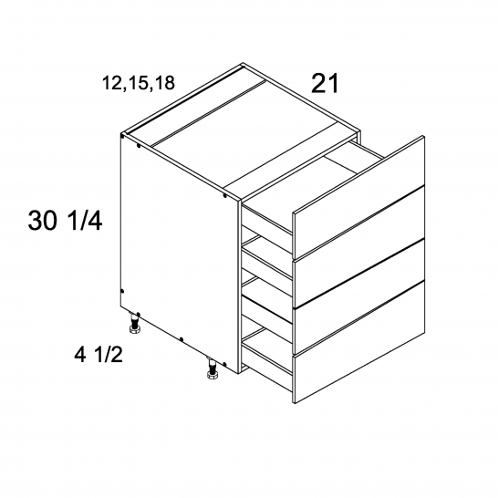 ROS-4VDB12 - Four Drawer Vanity Base - 12 inch