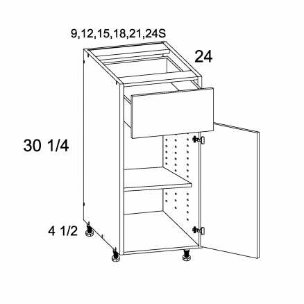 TDW-B24S - One Drawer One Door Bases - 24 inch