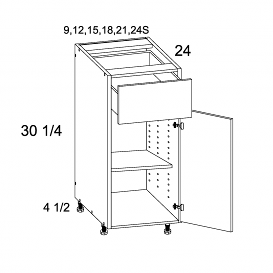 TWP-B21 - One Drawer One Door Bases - 21 inch