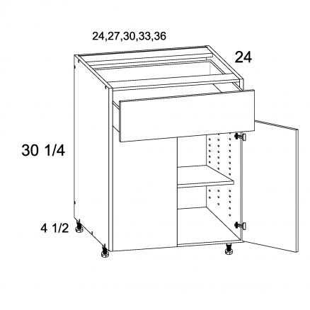TDW-B24 - One Drawer Two Door Bases - 24 inch