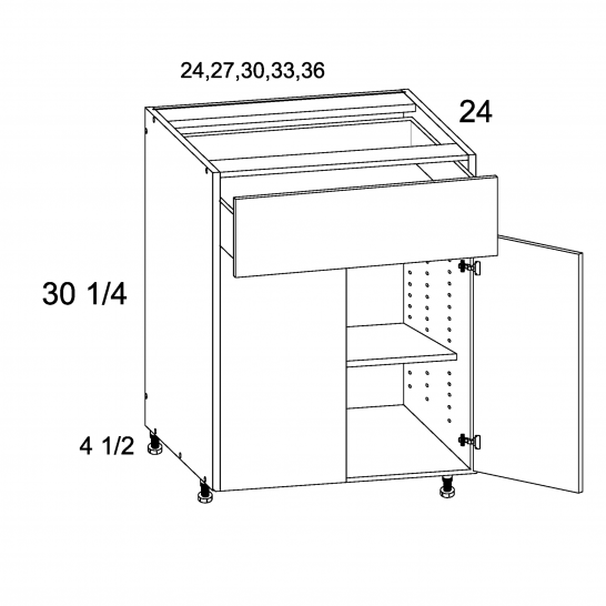 TDW-B27 - One Drawer Two Door Bases - 27 inch
