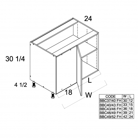 PGW-BBC49/52SFH - Full Height One Door Blind Base - 42 inch