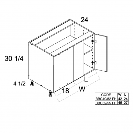 TDW-BBC52/55FH - Full Height Two Door Blind Base - 45 inch