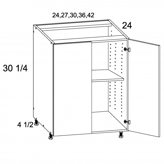 TDW-B30FH - Full Height Double Door Bases - 30 inch