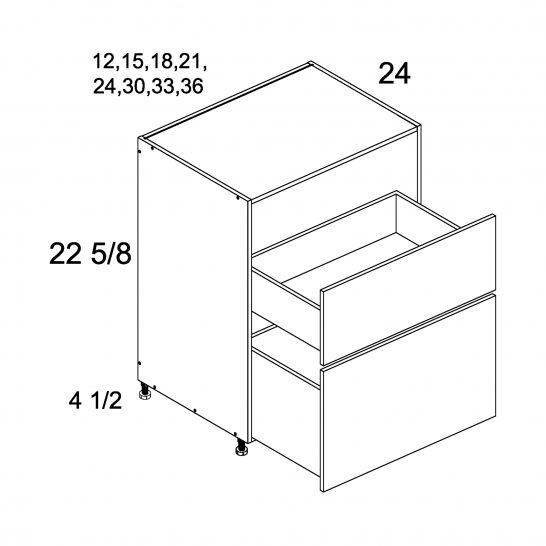 TWP-DDR2DB12 - Two Drawer Desk Base - 12 inch