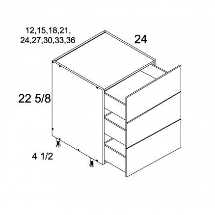 TDW-DDR3DB18 - Three Drawer Desk Base - 18 inch