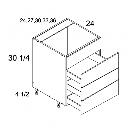 ROS-RB4DB30 - Three Drawer with False Front Range Base - 30 inch