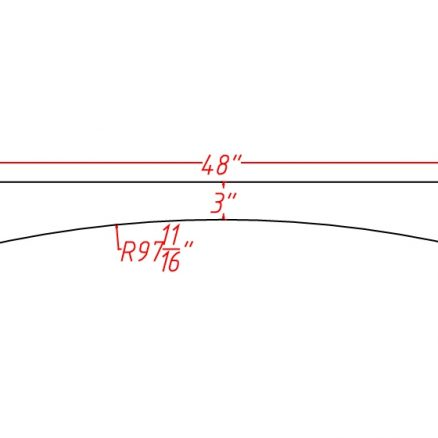TW-VA48 - VALANCE ARCHED 48 - 0.75 inch