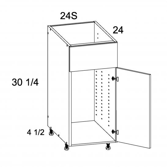 TDW-SB24S - Single Door Single False Drawer Sink Base - 24 inch