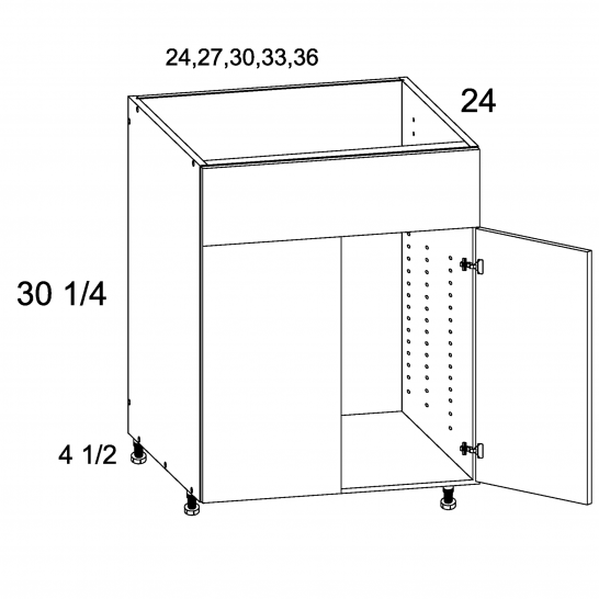 TDW-SB33 - Two Door Single False Drawer Front Sink Base - 33 inch