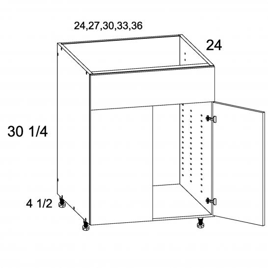 TDW-SB36 - Two Door Single False Drawer Front Sink Base - 36 inch