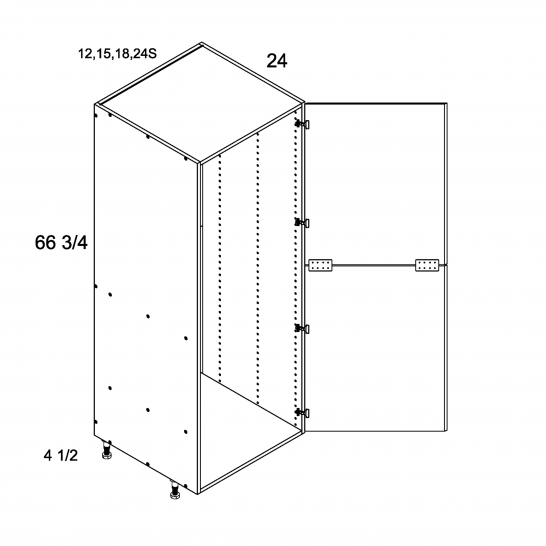 TWP-T1272 - Tall Open Utility with Two Door - 12 inch
