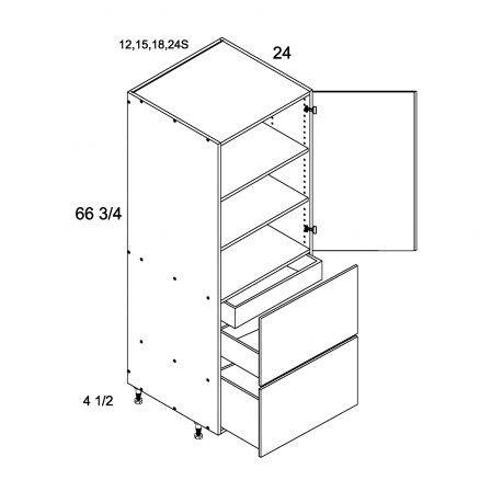 TWP-T2DBID1872 - Tall with Two Drawer and One Inner Drawer Single Door - 18 inch