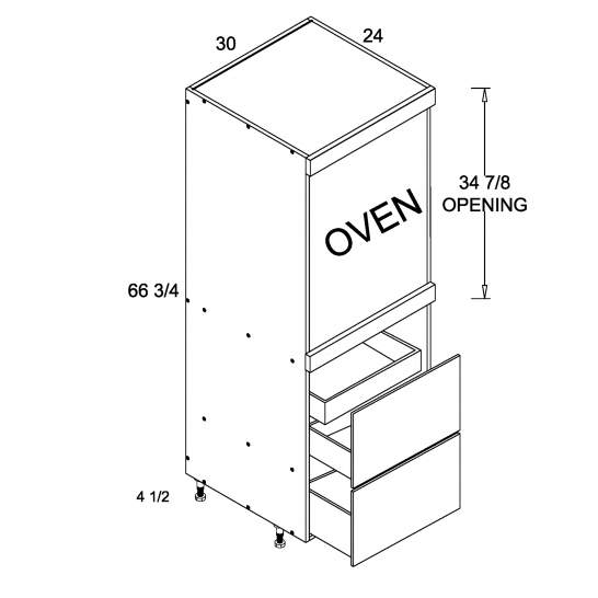 TDW-TOS2DBID3072 - Tall One Oven with Two Drawer and One Inner Drawer - 30 inch