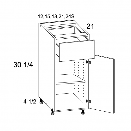TWP-VB18 - One Drawer One Door Vanity Base - 18 inch