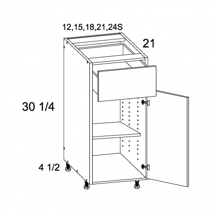 RCS-VB18 - One Drawer One Door Vanity Base - 18 inch