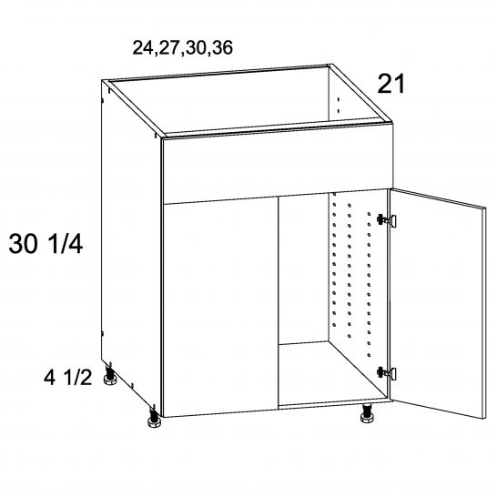 TDW-VSB30 - Vanity Sink Base False Front Two Door - 30 inch