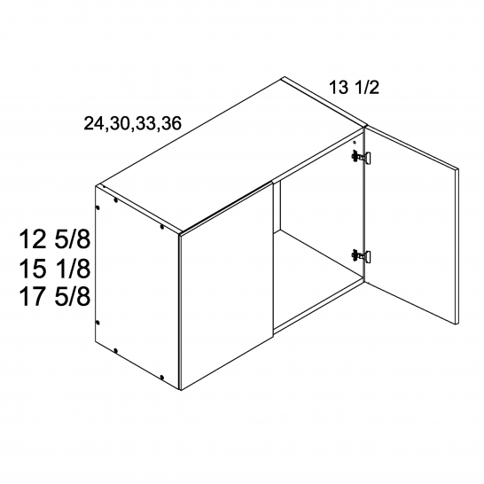 """TGW-W3612 - 12 5/8"""" H Two Door Wall Cabinets - 36 inch"""