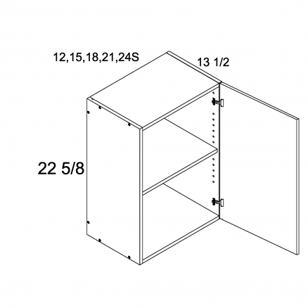 "TGW-W2423S - 22 5/8"" H One Door Wall Cabinets - 24 inch"
