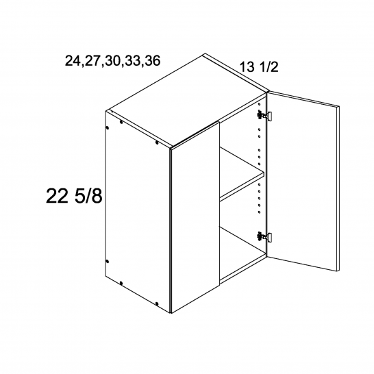 """TDW-W2723 - 22 5/8"""" H Two Door Wall Cabinets - 27 inch"""