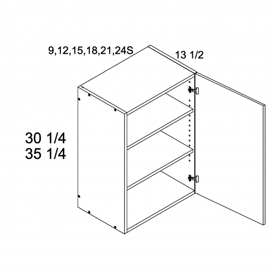 """RCS-W0935 - 35 1/4"""" H One Door Wall Cabinets - 9 inch"""
