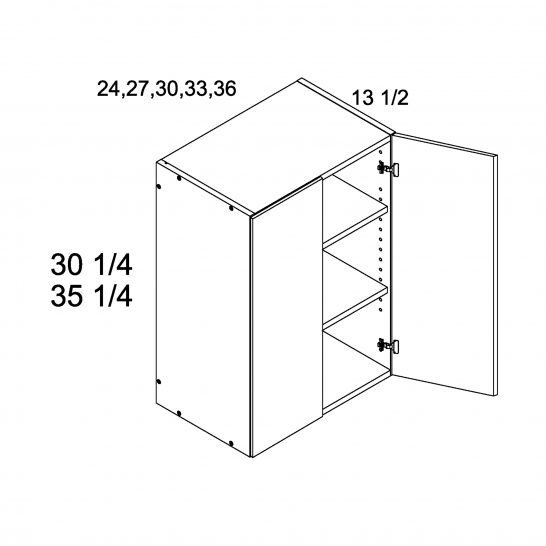 """ROS-W2735 - 35 1/4"""" H Two Door Wall Cabinets - 27 inch"""