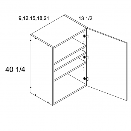 """ROS-W1540 - 40 1/4"""" H One Door Wall Cabinets - 15 inch"""