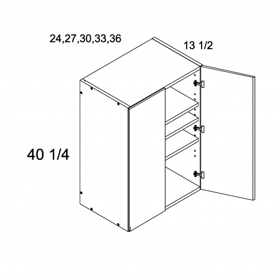 """ROS-W2740 - 40 1/4"""" H Two Door Wall Cabinets - 27 inch"""