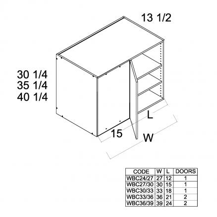 "TWP-WBC24/2730 - 30 1/4"" H Blind Corner Wall Cabinets - 27 inch"