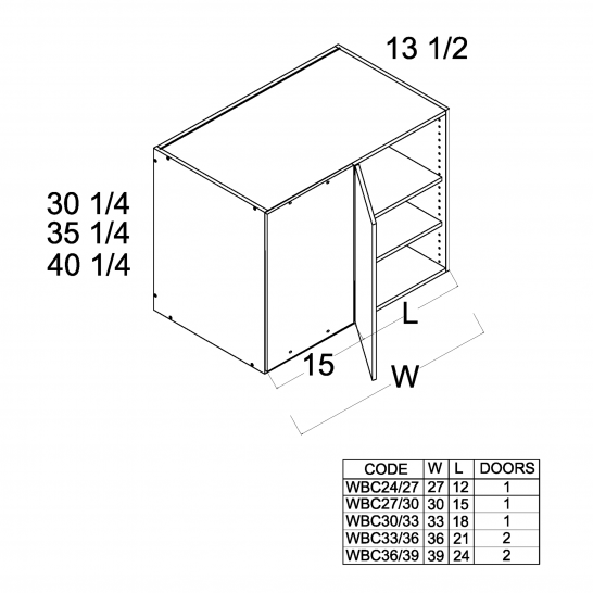 "TWP-WBC27/3030 - 30 1/4"" H Blind Corner Wall Cabinets - 30 inch"