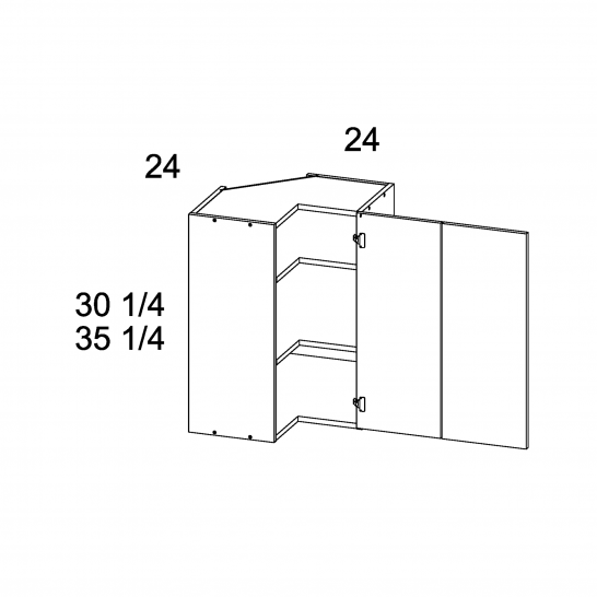 "PGW-WER2430 - 30 1/4"" H Easy Reach Corner Wall Cabinets - 24 inch"