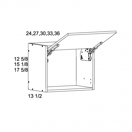 """TWP-WFD3612 - 12 5/8"""" H Flip up Wall Cabinets - 36 inch"""