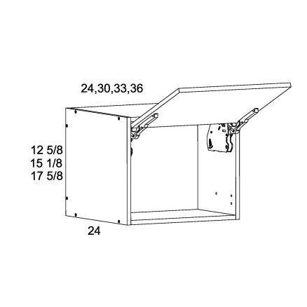 """TWP-WFD331824 - 17 5/8"""" H by 24""""D Flip up Wall Cabinets - 33 inch"""