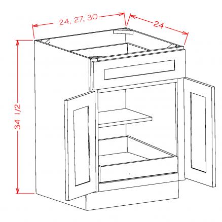 SE-B301RS - Double Door Single Rollout Shelf Bases