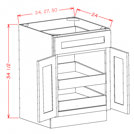 SE-B302RS - Double Door Double Rollout Shelf Bases