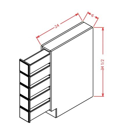 TW-BSDC6 - Spice Drawer Bases  - 6 inch