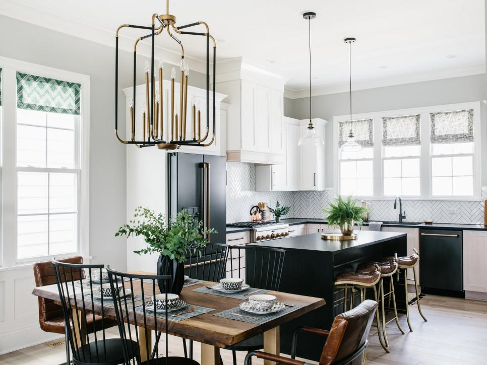 White cabinets and black countertops can embrace natural elements
