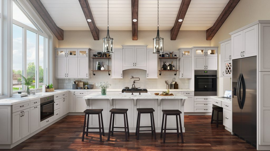 Traditional kitchen features rustic beams and dark hardware