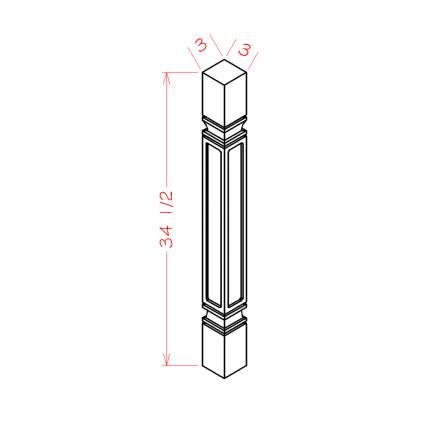 TW-SQDL - Decorative Legs - 3 inch