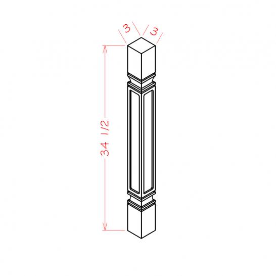 SA-SQDL - Decorative Legs - 3 inch