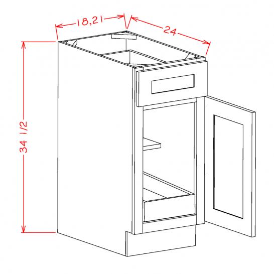 YW-B211RS - Single Door Single Rollout Shelf Bases