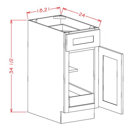YC-B181RS - Single Door Single Rollout Shelf Bases