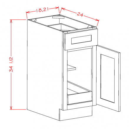 YC-B211RS - Single Door Single Rollout Shelf Bases