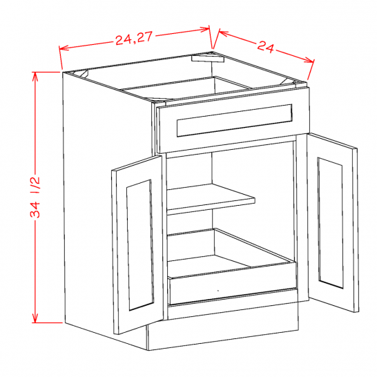 SW-B241RS - Double Door Single Rollout Shelf Bases