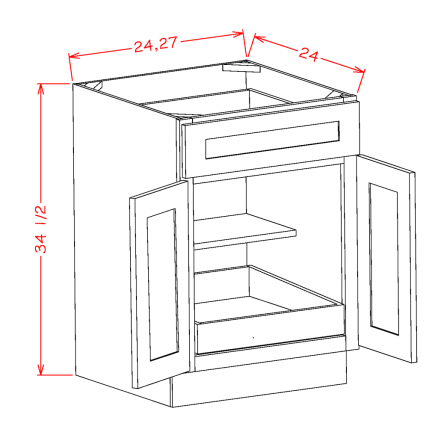 YW-B271RS - Double Door Single Rollout Shelf Bases