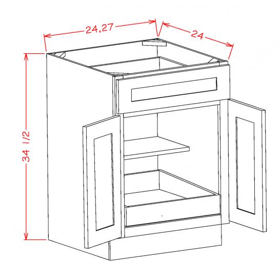 SA-B271RS - Double Door Single Rollout Shelf Bases